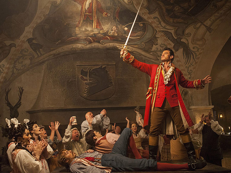 """Luke Evans as Gaston in a scene from Walt Disney Studios' new live-action movie """"Beauty & the Beast."""" The movie is playing for its final week at The Harbor Theatre in Boothbay Harbor."""