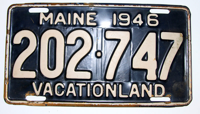 A Maine license plate from 1946