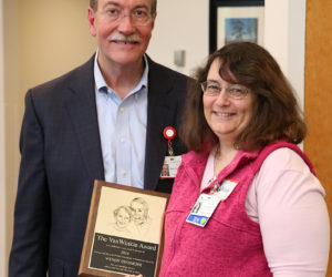 LincolnHealth President Jim Donovan recognized Wendy Dinsmore's dedication and hard work in October 2016 when she received the Webster and Elise Van Winkle Excellence in Health Care Award.