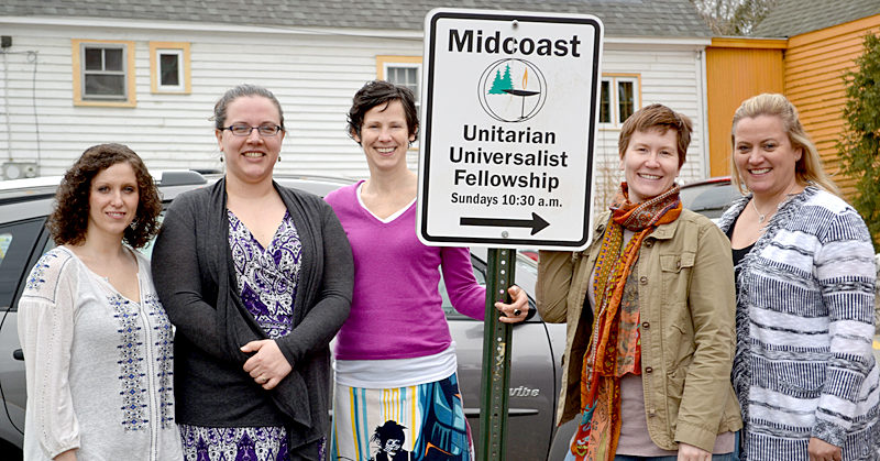 From left: Midcoast Unitarian Universalist Fellowship members Tiffany Vencile, Caity Bogdan, Rev. Erika Hewitt, Courtney Belolan, and Rosie Davis outside their meeting location at the Skidompha Library on Saturday, April 8. (Abigail Adams photo)