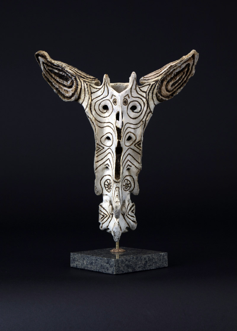 "Keith Plummer's bone sculpture titled ""Loki"" is carved from a horse's sacrum bone. (Photo courtesy Keith Plummer)"