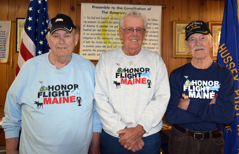 From left: Stanley Wall, Allan Benner, and Ralph Moxcey at the American Legion in Damariscotta on Thursday, April 13. The three local veterans, along with a fourth, Ray Alden, recently participated in an Honor Flight to Washington, D.C. (J.W. Oliver photo)