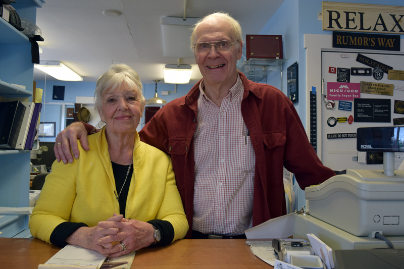 Ellie and John Day behind the counter at Emporium Engraving in Newcastle on Friday, April 14. (J.W. Oliver photo)