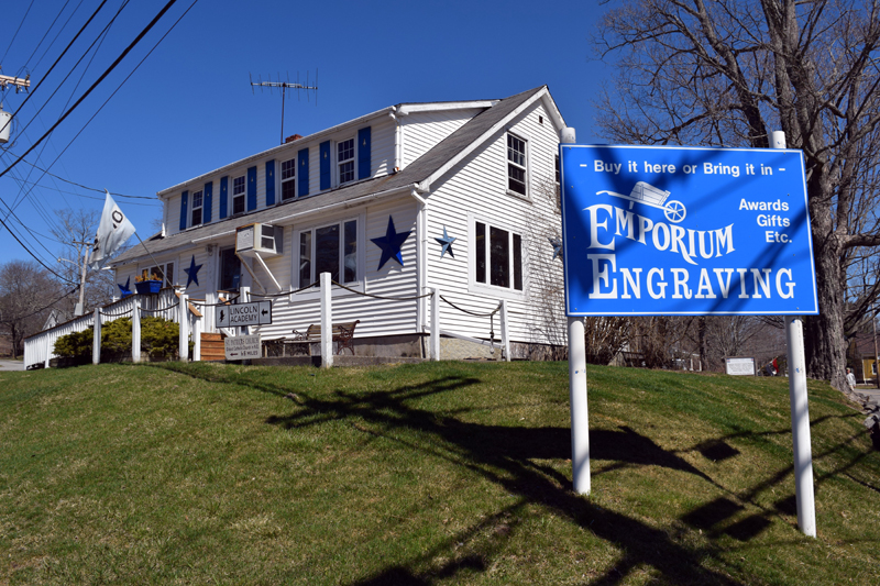 The current home of Emporium Engraving at the intersection of Academy Hill Road, Main Street, and Mills Road in Newcastle. (J.W. Oliver photo)