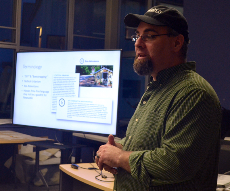 Newcastle Local Planning Committee Co-chair Ben Frey discusses the draft comprehensive plan and land use code during a public forum at Lincoln Academy's Cable-Burns Applied Technology and Engineering Center on Tuesday, April 11. (Maia Zewert photo)