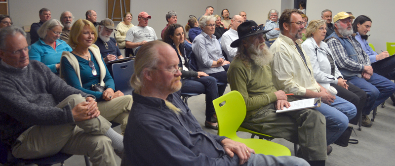 More than 40 Newcastle residents attended a public forum about the draft comprehensive plan and land use code at Lincoln Academy's Cable-Burns Applied Tecnology and Engineering Center on Tuesday, April 11. (Maia Zewert photo)