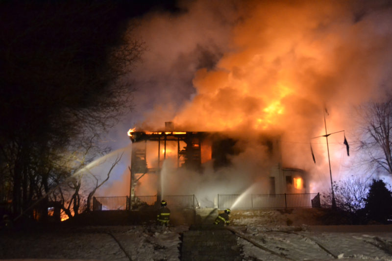 Smoke billows from the Reed Mansion in Waldoboro as firefighters work to extinguish the flames the early morning of Sunday, April 2. (Maia Zewert photo)
