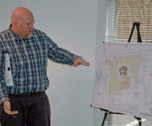 Senior Engineer Andrew Hedrich, of Gartley & Dorsky Engineering & Surveying, discusses the First Baptist Church of Waldoboro's plans for a new sanctuary. (Alexander Violo photo)