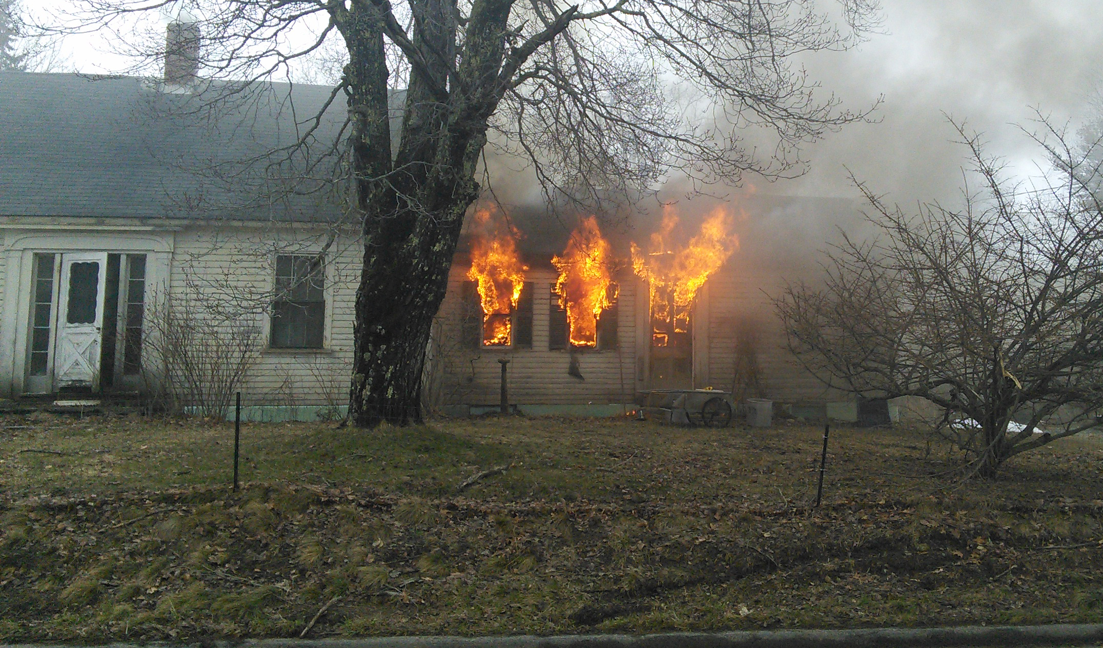 Fire rips through 342 Jefferson Road in Whitefield the early evening of Wednesday, April 5. (photo courtesy George Fergusson)