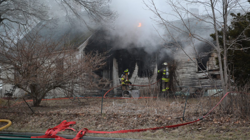 Firefighters from six departments battled a structure fire on Jefferson Road in Whitefield that was reported at about 5:30 p.m. on Wednesday, April 5. (Abigail Adams photo)