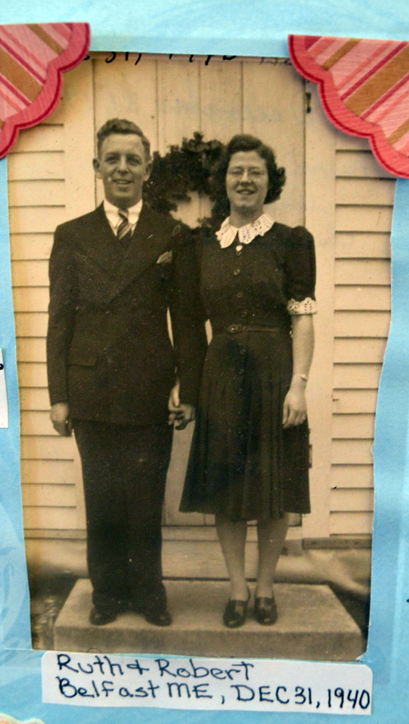 A photo of Ruth Applin and her husband, Robert, on Dec. 31, 1940, during their honeymoon in Belfast. The photo was one of many of Applin's life on display during her 100th birthday celebration.