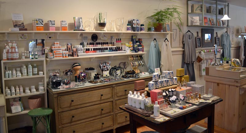 High-quality skin-care products and makeup are among the unique products available at In the Clover on Main Street in Wiscasset. (Abigail Adams photo)