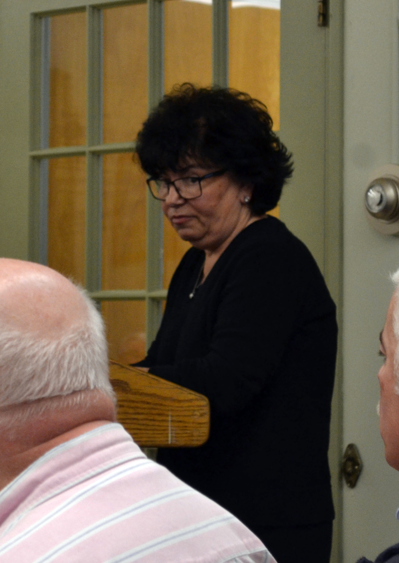 "Resident Celeste Edwards speaks to the Wiscasset Board of Selectmen at their Tuesday, April 18 meeting about the ""innappropriateness"" of the treatment she received from the Wiscasset Historic Preservation Commission. (Abigail Adams photo)"