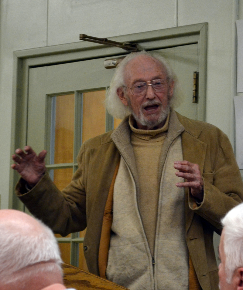 Wiscasset Historic Preservation Commission Chair John Reinhardt speaks at the Wiscasset Board of Selectmen's Tuesday, April 18 meeting, after hearing a complaint about the commission. (Abigail Adams photo)