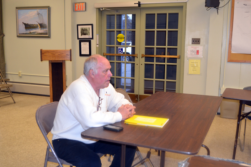 Michael Hilgendorf presents a plan to convert the former NAPA Auto Parts building into a child care facility during a meeting of the Wiscasset Planning Board on Monday, April 10. (Charlotte Boynton photo)