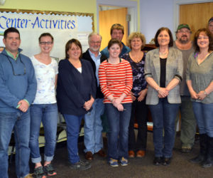 Wiscasset Parks and Recreation staff bid farewell to Director Todd Souza on Friday, April 7. From left: Bob Macdonald, Souza, Ashley Major, Bonnie Blagdon, Denny Hebert, Nori Mcleod, Duane Goude, Doris Gabriele, Joan Bickford, Rob Doody, Lisa Gatti, Kerry Leeman, and Bob Bickford. (Abigail Adams photo)