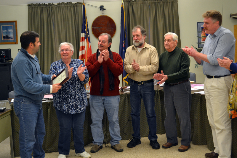 The Wiscasset Board of Selectmen gives outgoing Parks and Recreation Director Todd Souza a round of applause April 4. From left: Souza and Selectmen Judy Colby, David Cherry, Ben Rines, Lawrence Gordon, and Jeff Slack. (Abigail Adams photo)