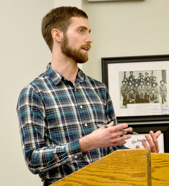 Town Planner Ben Averill speaks during the Wiscasset Board of Selectmen's Tuesday, April 4 meeting. (Abigail Adams photo)