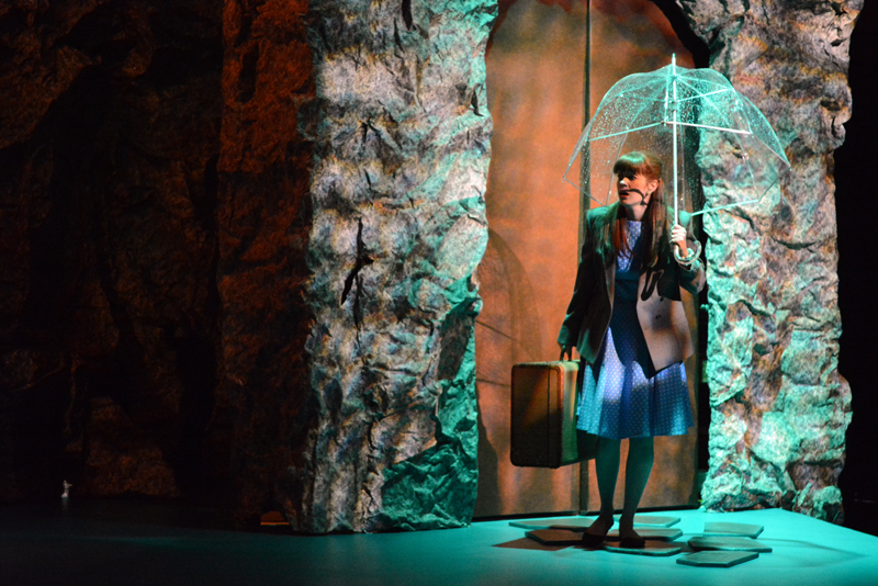 """Gina D'Arco, as Eurydice, arrives in the underworld via elevator at an April 24 dress rehearsal of Sarah Ruhl's """"Eurydice,"""" presented by Heartwood Regional Theater Company. (Photo courtesy Joy Braley)"""