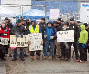 Natasha Mayers, of Whitefield, was one of nine protesters arrested at Bath Iron Works on Saturday, April 1. (Photo courtesy Natasha Mayers)