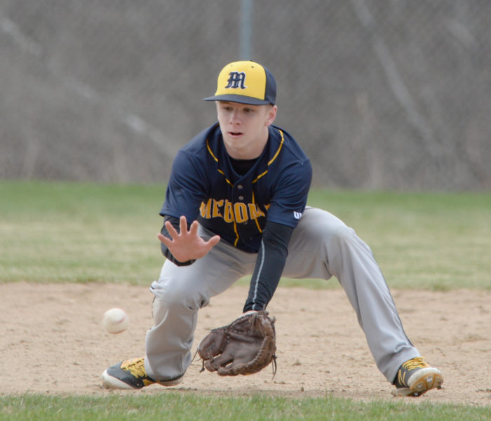 Brent Stewart scoops up a ground ball at shortstop. (Paula Roberts photo)