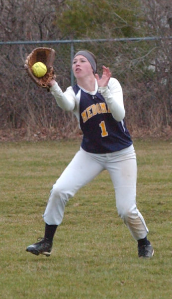 Addie Jameson makes the running catch in the outfield for the Lady Panthers.  (Carrie Reynolds photo)