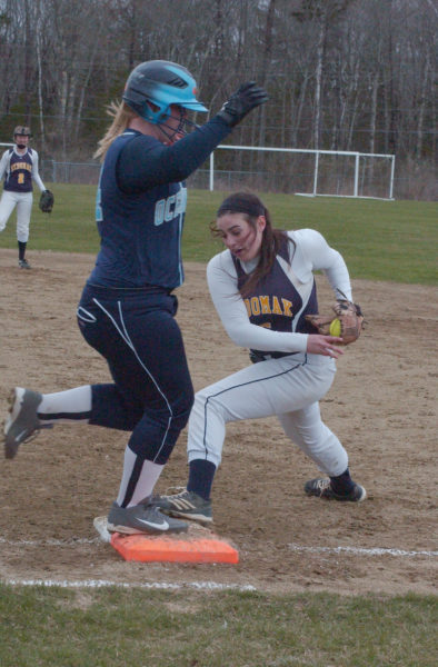 Lydia Simmons picks up the out at first on Oceanside's K. Grover.  (Carrie Reynolds photo)