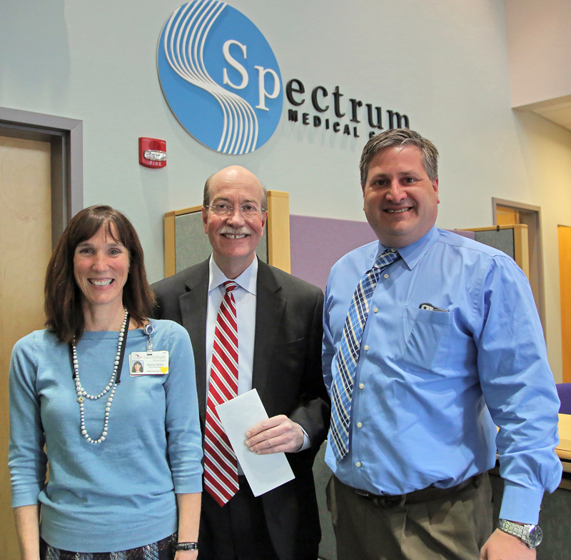 From left: Lincoln Medical Partners Vice President of Physician Services Stacey Miller, LincolnHealth President Jim Donovan, and Spectrum Medical Group CEO David Landry.