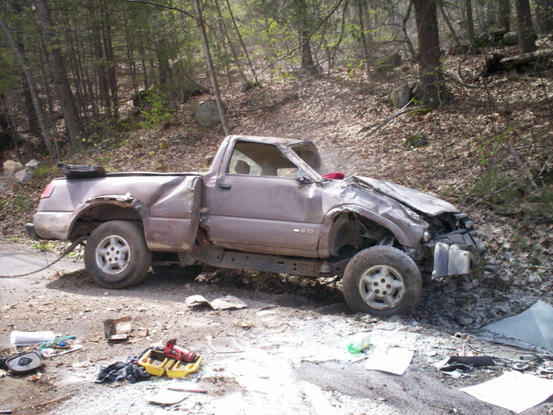 Michael L. Brewer, 61, of Union, crashed his Chevrolet S-10 pickup truck on Butler Road in Boothbay after a police pursuit Saturday, May 13, according to the Lincoln County Sheriff's Office. Brewer was ejected and the truck rolled over onto his arm, pinning him. (Photo courtesy Lincoln County Sheriff's Office)