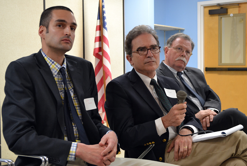 From left: J.W. Oliver, editor of The Lincoln County News; Greg Kesich, editorial page editor for the Portland Press Herald; and Don Carrigan, of WCSH 6, participate in a community conversation about fake news at Mobius Inc. headquarters in Damariscotta on Wednesday, May 24. (Maia Zewert photo)
