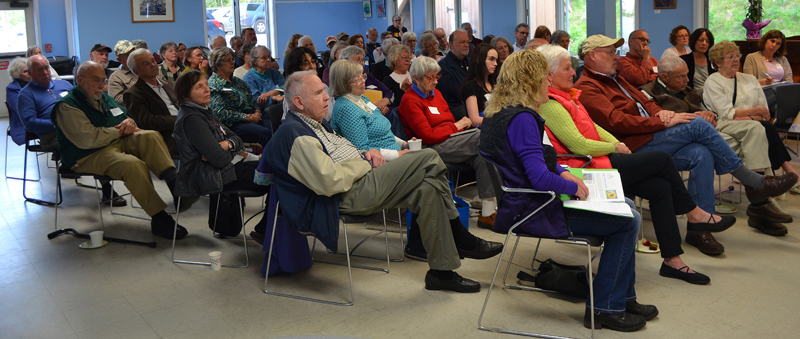 The audience at a community conversation about fake news at Mobius Inc. headquarters in Damariscotta. (Maia Zewert photo)