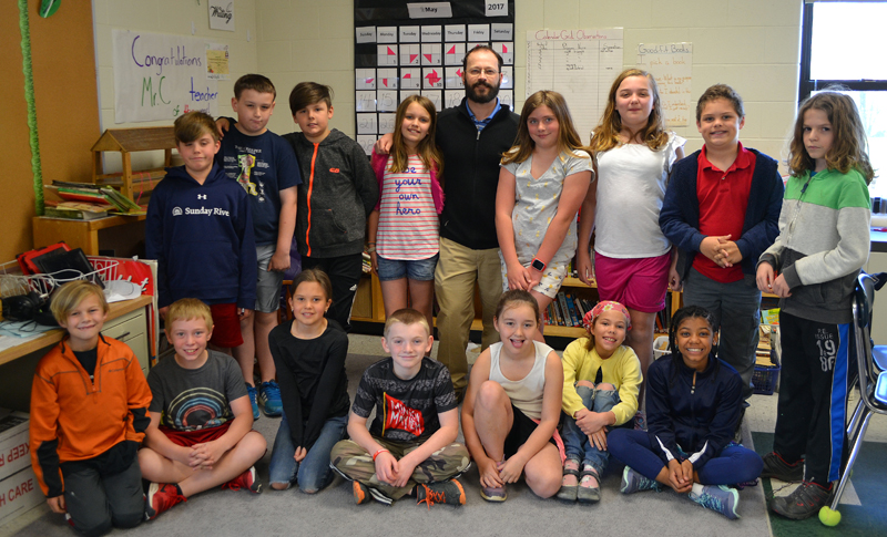 Great Salt Bay Community School teacher Chris Coleman with his fourth-grade class the morning of Tuesday, May 16. (Maia Zewert photo)