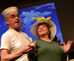 "Hearts Ever Young cast members John Harris and Judy Bebout team up on the well-known song ""Hit the Road Jack"" during a dress rehearsal at Lincoln Theater in Damariscotta on May 2 for ""Love That Song,"" which will run May 18-20. (Christine LaPado-Breglia photo)"