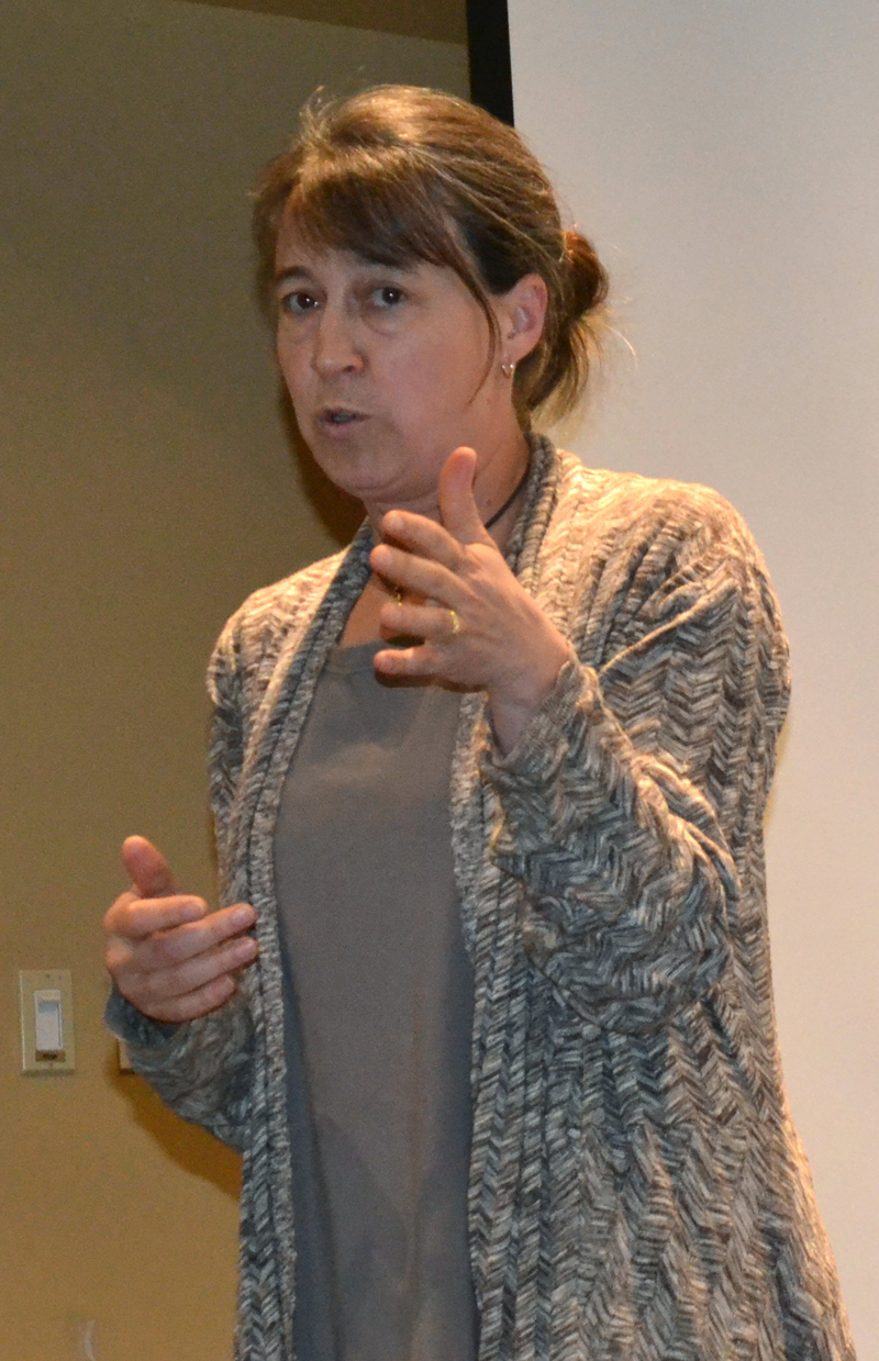 Jenny Mayher, of Our Town Damariscotta, speaks during a community conversation about recent commercial developments in Damariscotta on Wednesday, May 3. (Maia Zewert photo)