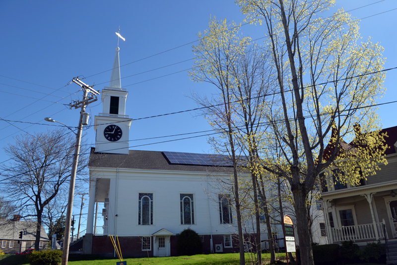 The Damariscotta Baptist Church recently completed the installation of 56 solar panels on the south side of the church roof, facing Bristol Road. (Maia Zewert photo)