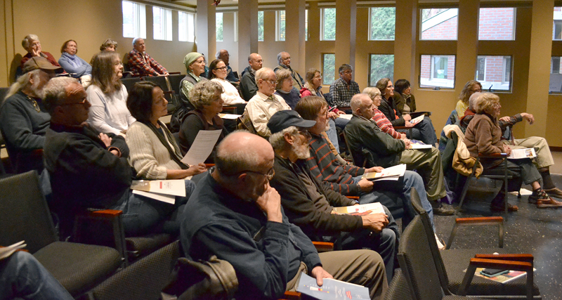 Area residents attend a town hall-style forum in the Porter Meeting Hall at Skidompha Library the evening of Thursday, May 4 to hear from members of Democratic leadership about the party's alternative to Gov. Paul LePage's biennial budget proposal. (Maia Zewert photo)