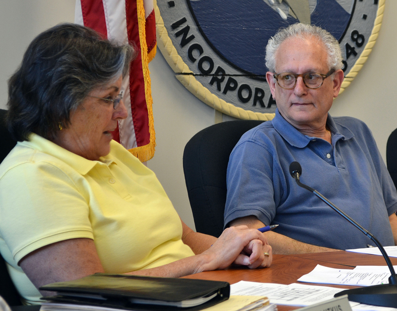 Damariscotta Board of Selectmen Chair Robin Mayer talks about the town's ordinances during the board's Wednesday, May 17 meeting as Selectman Ronn Orenstein looks on. (Maia Zewert photo)