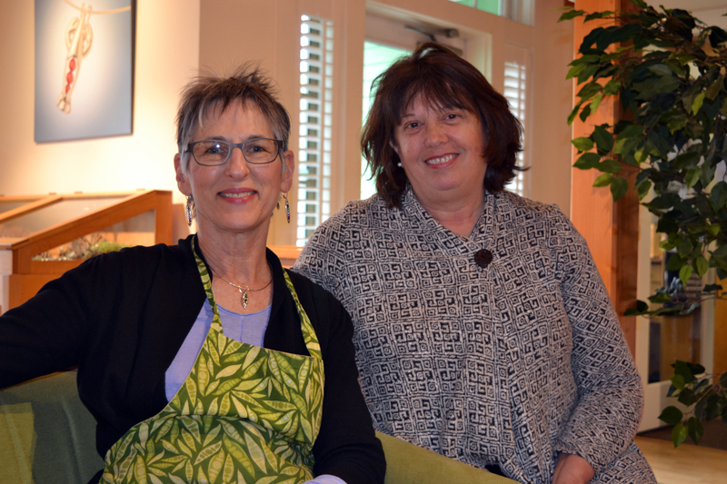 From left: Ronna Lugosch, owner of Peapod Jewelry in Edgecomb, and Peapod Jewelry marketing manager Diane Walsh. (Christine LaPado-Breglia photo)
