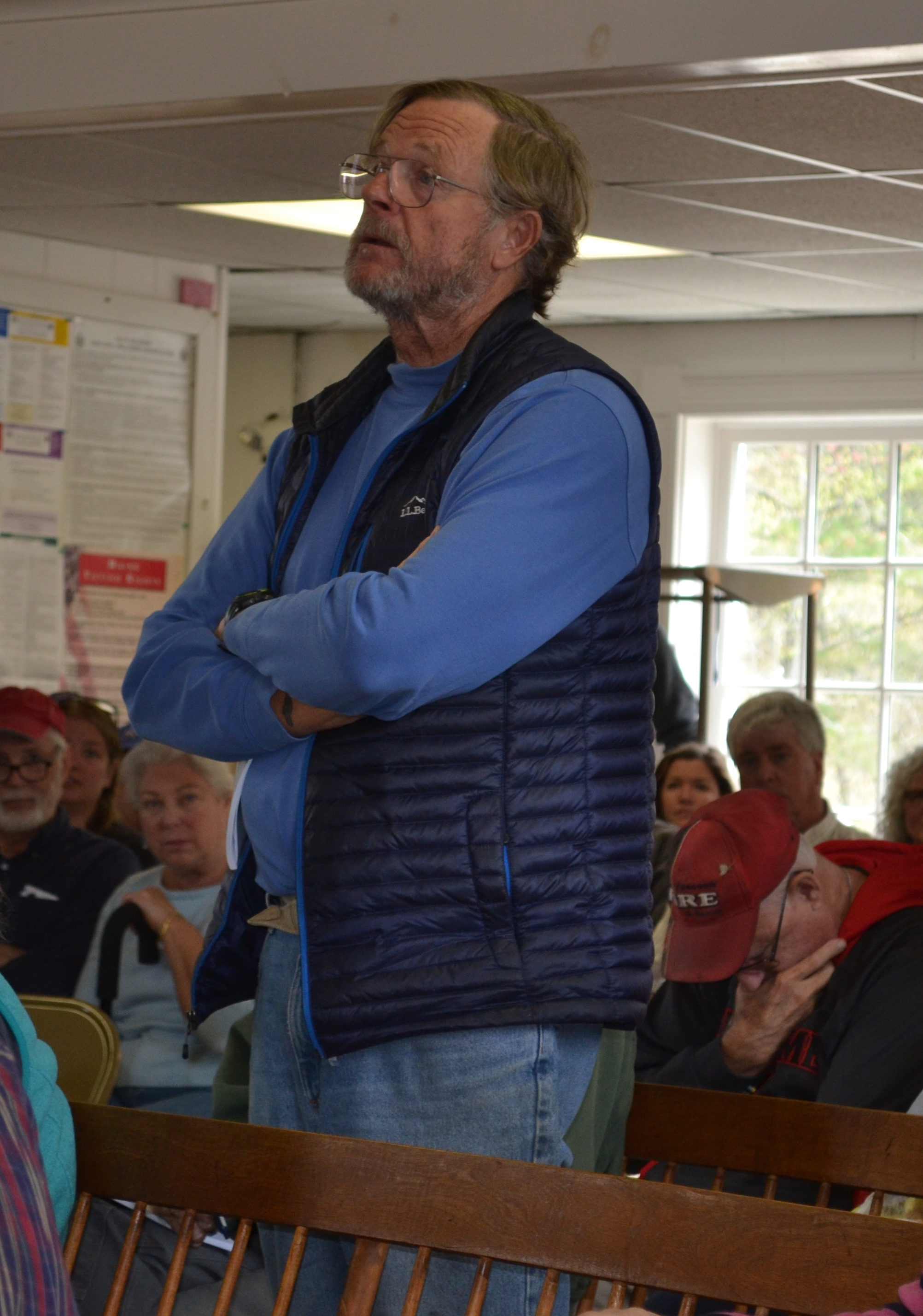 Edgecomb Harbormaster Corning Townsend speaks about a proposed stipend for the position at the annual town meeting Saturday, May 13. (Abigail Adams photo)