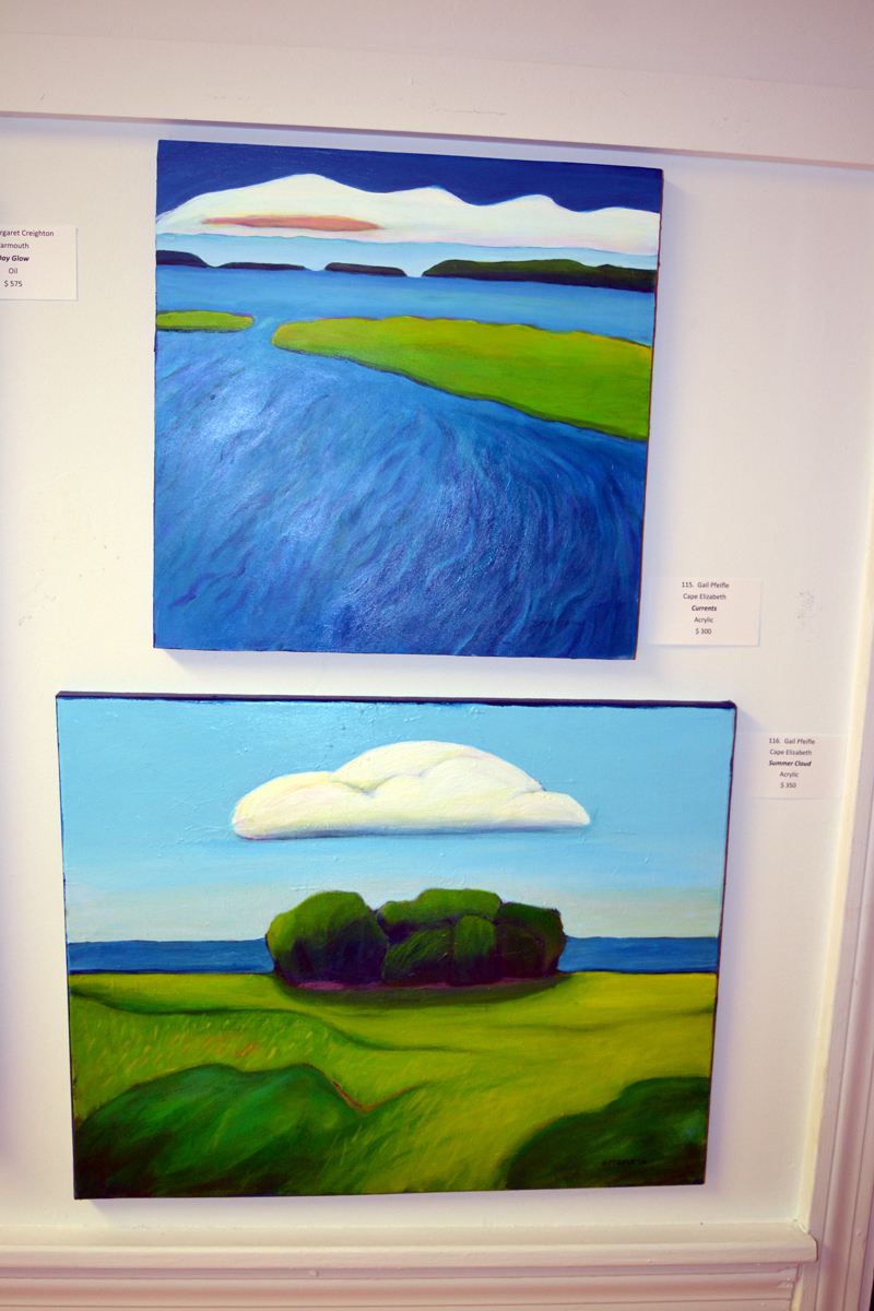 "Cape Elizabeth painter Gail Pfeifle's ""Currents"" (top) and ""Summer Cloud"" hang in the main gallery of River Arts. (Christine LaPado-Breglia photo)"