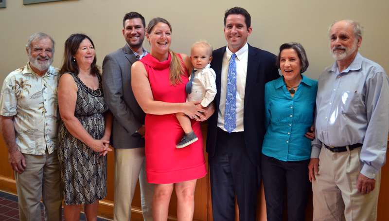 Family members gathered to watch Jonathan Liberman take the oath of office as district attorney at West Bath District Court on Friday, May 19. From left: John Connolly, Darlene MacKinnon, Alec Liberman, Erin Connolly, Ben Liberman, Jonathan Liberman, Lauren Liberman, and John Cleary. (Abigail Adams photo)