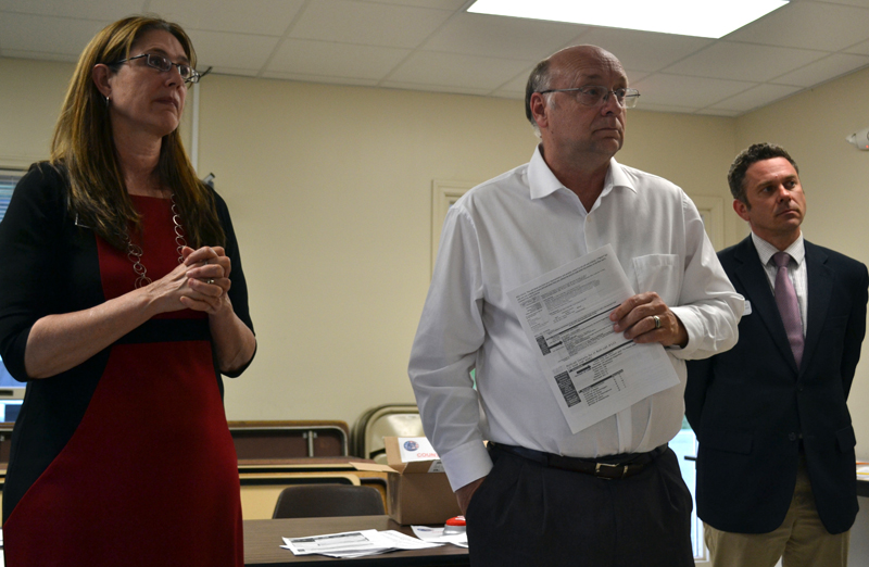 From left: state Rep. Deb Sanderson, R-Chelsea, state Sen. Dana Dow, R-Waldoboro, and Mike Quatrano, director of civic engagement with the Maine Heritage Policy Centerm encourage grass-roots activism in the legislative process during a Lincoln County Republican Committee meeting in Newcastle on Wednesday, May 24. (Abigail Adams photo)