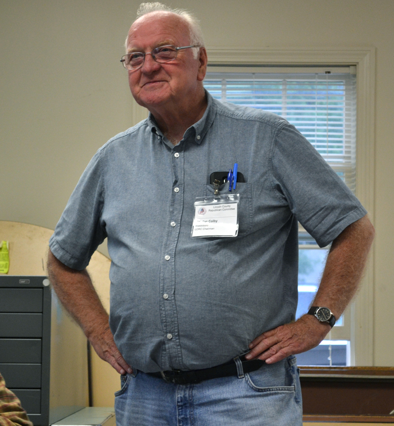 Lincoln County Republican Committee Chair Gordon Colby calls the May meeting of the committee to order in Newcastle on Wednesday, May 24. (Abigail Adams photo)