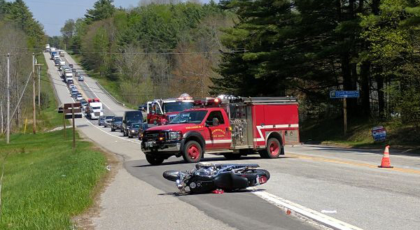 Traffic is backed up along Route 1 in Nobleboro for a motorcycle accident the afternoon of Thursday, May 18.