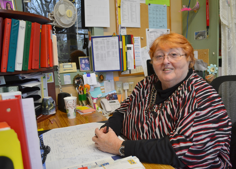 After 33 years as the administrative assistant at South Bristol School, Connie Kennedy will retire June 30. (Maia Zewert photo)