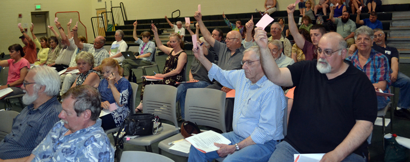 RSU 12 voters reject a motion to amend the regular education budget during RSU 12's annual budget meeting at the Chelsea Elementary School on Thursday, May 18. (Abigail Adams photo)