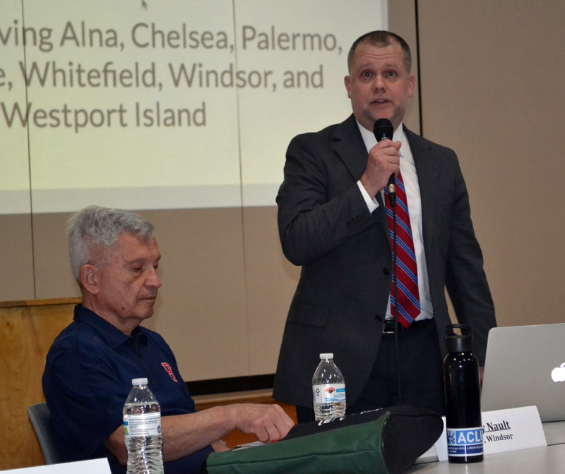 RSU 12 Board of Directors Chair Jerry Nault (left) listens as Superintendent Howard Tuttle presents the 2017-2018 budget during the district's annual budget meeting at the Chelsea Elementary School on Thursday, May 18. (Abigail Adams photo)