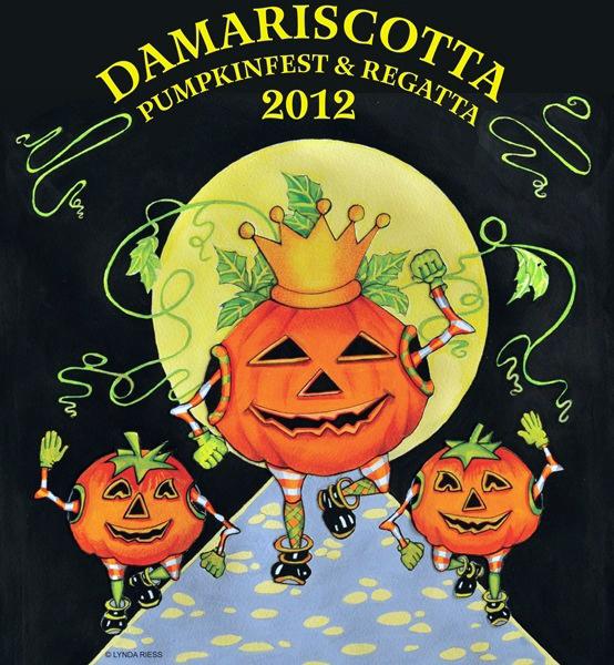 The 2012 Damariscotta Pumpkinfest & Regatta T-shirt design.