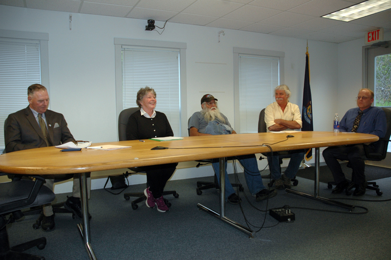 The five candidates for two seats on the Waldoboro Board of Selectmen attend a candidates night Tuesday, May 30. From left: Clinton Collamore, Jann Minzy, Melvin Williams, Seth Hall, and Jeremey Miller. (Alexander Violo photo)