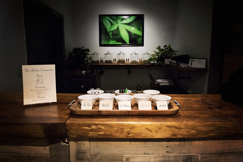 A display at the Herban Cannoisseur features products with names like Big Foot, Lost Soul, and Mob Boss. The medical marijuana caregiver storefront shares a building with Highbrow Maine at 21 Winslows Mills in Waldoboro, but is a separate company with a separate entrance. (Photo courtesy Noah Rosen)
